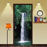 3D Green Forest Waterfall View Landscape Door Sticker PVC Waterproof Wall Mural