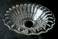 Diamond Points & Vertical Ribs Crystal Glass Serving / Fruit Bowl / Center Piece