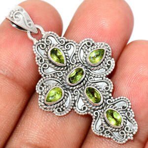 Cross - Peridot 925 Sterling Silver Pendant Jewelry BP76254