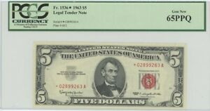 1963 $5 Legal Tender FR#1536* PCGS 65 PPQ Gem Star