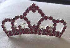 Disney Princess Crown Tiara Barrette Hair Pin Pink Rhinestone New!