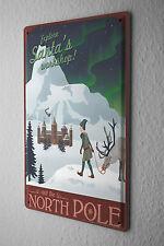 Tin Sign Santa Claus  Workshop reindeer Castle North Pole elves Metal Plate