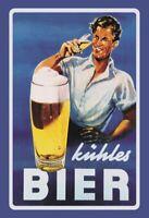 Kühles Bier Blechschild Metallschild Schild gewölbt Metal Tin Sign 20 x 30 cm