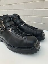 PRADA MENS BLACK LEATHER ANKLE HIKING BOOTS METAL TOE HINGE AND ANKLE STRAP