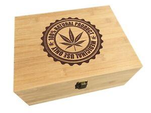 Medical Marijuana Bamboo Wood All-Purpose Storage Stash Box - Great Gift- Large