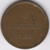 1864 Guernsey 4 Doubles   British Coins   Pennies2Pounds