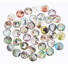 50 Mixte Cabochons Verre Chaton Motif Multicolore Ronde Pour Support 12mm