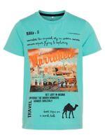 NAME IT Jungen T-Shirt NKMJames Travel türkis grün Größe 122/128 bis 158/164