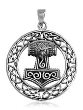 925 solid Sterling Silver Norse Viking Thor's Hammer Mjolnir XL pendant