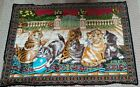 """Vintage Tapestry Look 6 Cats Kittens Playing  54""""x 38"""""""