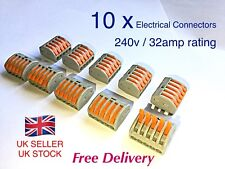 10 x Wago 5-way Electrical Lever Connectors Wire Terminal Block Clamp (222-415)