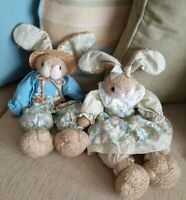 Vintage Hallmark Easter Plush Bunnies with Country Outfits and Straw Hats