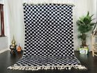 Moroccan Beni Ourain Handmade Rug 5'7x8'3 Checkered Berber Gray Black Wool Rug