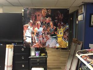 HUGE 40x35 Magic Johnson VINYL BANNER POSTER larry bird Boston Celtics art Dr. J