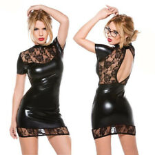 Women Sexy Patent leather Lace Lingerie Enticing Lady Mini Dress Clubwear
