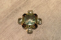 Vintage Monet Pin Brooch Aquamarine Brown Green Clear Cut Stones in Gold Signed