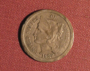 1888 3-CENT NICKEL - BETTER DATE WITH SOME DAMAGE, PLEASE VIEW