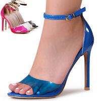 Damen Riemchen Sandaletten Pumps Transparent Metallic Sandalen High Heels