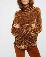 Free People Womens Velvet OB654824 Sweater Relaxed Golden Rod Brown Size XS