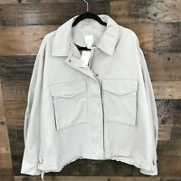 New H & M Women's Oversized Tan Chino Full Zip Utility Jacket