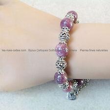 Bracelet pierres naturelles semi-précieuses Perles en lépidolite