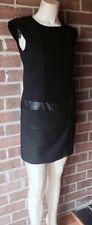 VIVIENNE By Vivienne Tam Petite MOD MINI DRESS w/ Faux Leather Trim Black 8P
