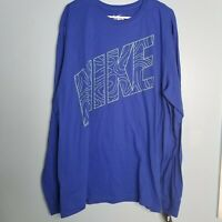 NEW THE NIKE TEE Long Sleeve Crew Shirt. Men's Size 2XL Blue CZ3152-820