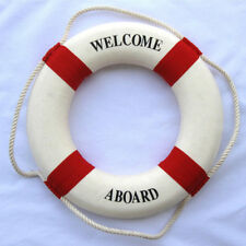 """Red 7.9/"""" WELCOME LIFE BUOY RING PRESERVER NAUTICAL BOAT MARINE THEME DECOR"""