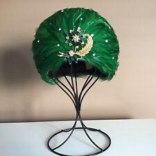 Vtg Women's Hat Emerald Feathers Brooch Felt Turban Elegant Cocktails Collect