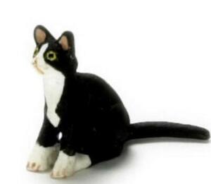 Puppenhaus Schwarz Kätzchen Mit Weiß Socken Sitzender Miniatur Haustier 1:12