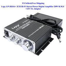 US Lepy LP-2024A+ 2CH Hi-Fi Stereo Power Digital Amplifier 20W R.M.S+5A Adapter