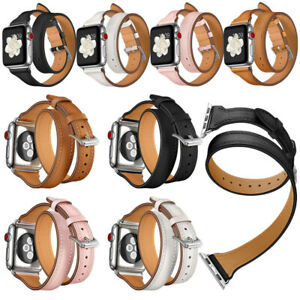 New Genuine Leather Watch Band Double Tour Strap For Apple Watch Series 4 3 2 1