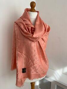 AUTHENTIC LOUIS VUITTON Monogram Peach Pink Large Silk & Wool Shawl Wrap : NEW