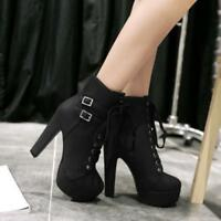 New Women Round Toe Buckle High Block Heel Platform Lace Up Fashion Ankle Boot