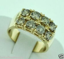 3.10 ct 14k Solid Yellow Gold Natural Champagne Diamond Ring 2 rows  huge