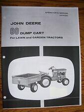 JOHN DEERE 110  & 112  DUMP CART  MANUAL  #80 plus PARTS MANUAL Round Fender