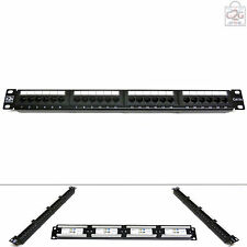 "Cat5E RJ45 GIGABIT Patch Panel 24 Way Port 1U 19"" Data Network Comms Rack"