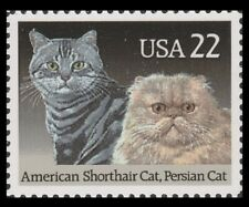 Us 2375 American Cats American Shorthair & Persian 22c single (1 stamp) Mnh 1988