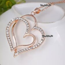 Girls Gifts For Her Large Rose Gold & Heart Necklace Sister Mother Daugther J634