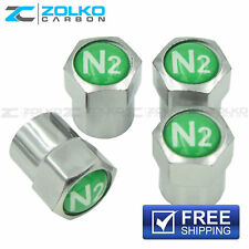 NITROGEN N2 VALVE STEM CAPS  WHEEL TIRE CHROME - US SELLER VE03