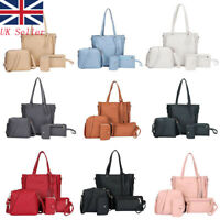 UK Ladies Women PU Handbag 4pcs/set Leather Shoulder Messenger Tote Purse Bag