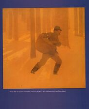 "MAXFIELD PARRISH BOOK PRINT ""WINTER"" MAILMAN CARRIES PACK THROUGH SNOWY WOODS"