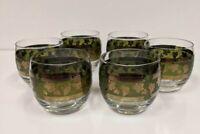6 MCM Cera Cora Glasses Roll Poly Green Gold Grape Vines Vintage