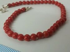 Natural italian dark red coral Bracelet beads  4.5 mm  and silver clasp