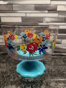 Pioneer Woman Birthday Floral Trifle Footed Snack Bowl - Acrylic