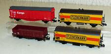 4x Fleischmann Güterwagen mit KKKulisse: ged. Güterwagen, Hochbord, Schiebewand