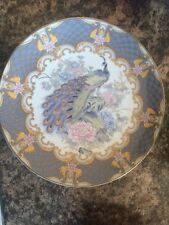 Vintage oriental porcelain peacock plate, peacock and flowers