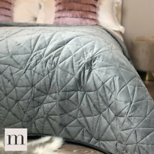 Luxury Velvet Silver Grey Geometric Quilted Bedspread Double / King Size Modern