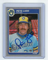 1985 BREWERS Pete Ladd signed card Fleer #585 AUTO Autographed Milwaukee