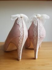 Vintage inspired heels, Wedding, Party, Lace, Pearls, Blush, one of a kind sz 4